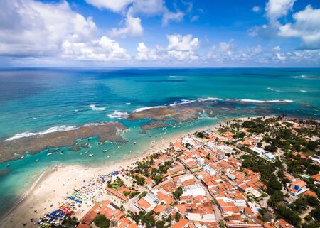Aerial view of a town by the beach Archivio Fotografico