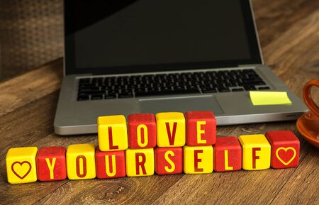 Love yourself in front of a laptop