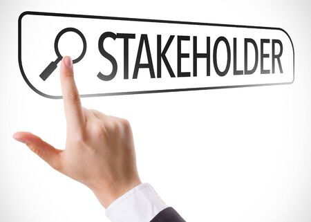 Hand pointing at stakeholder search Stock Photo