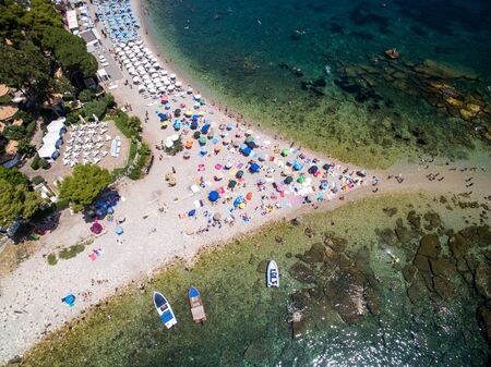Top View of Isola Bella at Taormina, Sicily Reklamní fotografie