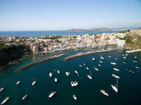 Aerial View of Procida Island, Italy Imagens