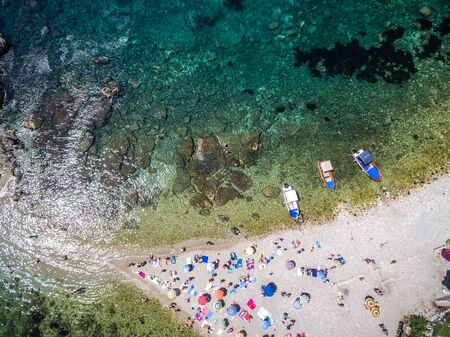 Top View of Isola Bella beach at Taormina, Sicily