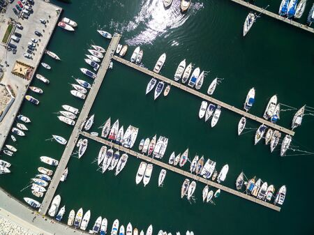 Top view of boats at Procida Island, Italy Imagens