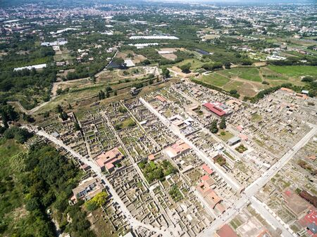 Aerial view of ruins of Pompeii, Italy Imagens