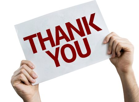 Hands holding Thank You placard with white background