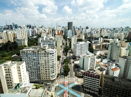 Aerial view of Consolacao Avenue Sao Paulo, Brazil