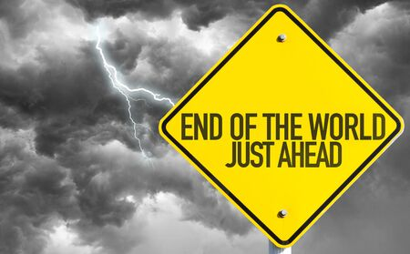 End of the world road sign in a storm