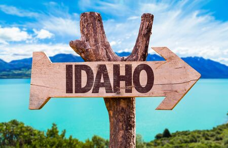 Idaho wooden signage by a lake