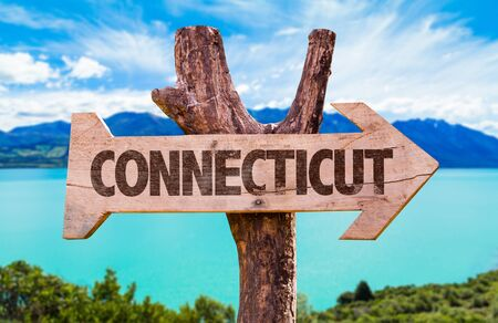 Connecticut wooden signage by a lake
