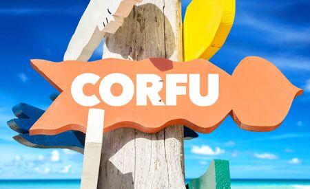 Corfu signage Stock Photo