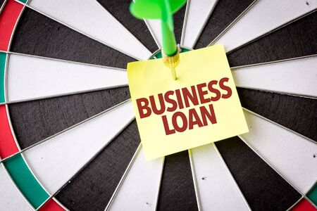 Dart with the words Business Loan 写真素材