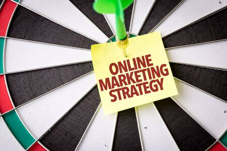 Dart with the words Online Marketing Strategy