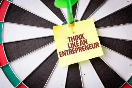 Dart with the words Think Like An Entrepreneur