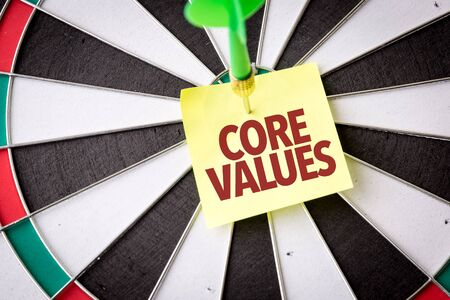 Dart with the words Core Values 写真素材