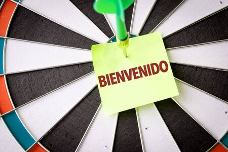 Dart with the word Bienvenido