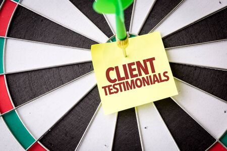Dart with the words Client Testimonials
