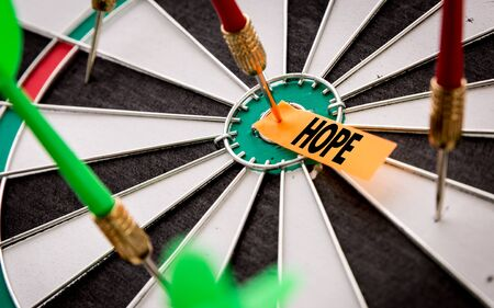 Darts with the word Hope