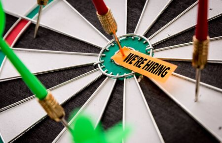We are hiring sticky note on dart board
