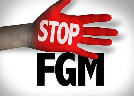 Red hand with Stop FGM concept