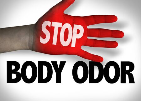 Red hand with Stop Body Odor concept Stok Fotoğraf