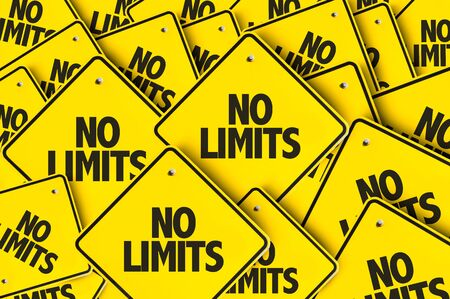 Signs with the words No Limits Stock Photo