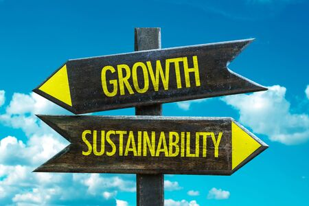 Growth vs Sustainability on sky background