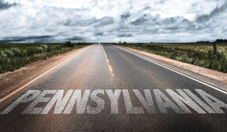 Pennsylvania written on the road