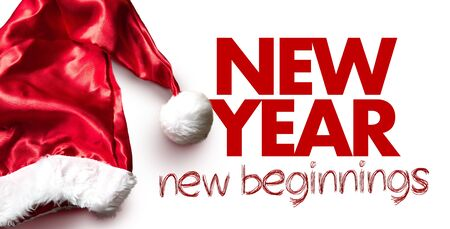 Santa hat with the words New Year New Beginnings on white background