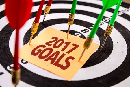Darts with the words 2017 Goals Stockfoto