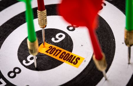 Darts with the words 2017 Goals Archivio Fotografico