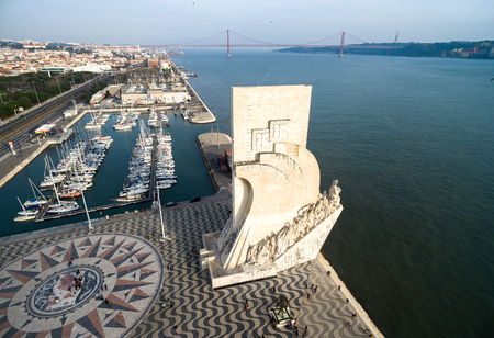 LISBOA, PORTUGAL - CIRCA DECEMBER 2015: Aerial view of Monument to the Discoveries, Belem district, Lisbon, Portugal