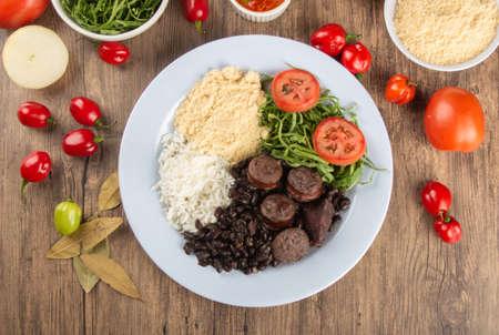 Feijoada. Traditional Brazilian food dish. Brazilian cuisine. Top view Stock Photo