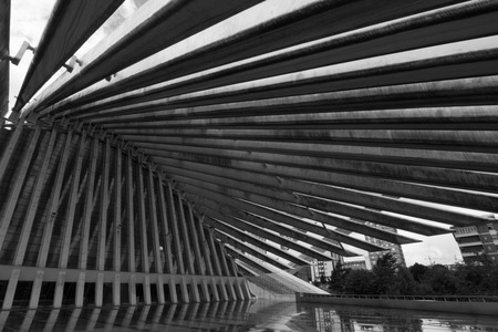 Oviedo, Asturias, Spain - Agost 09, 2017: Exhibition and Congress center Ciudad de Oviedo in Asturias. Designed by architect Santiago Calatrava, inaugurated in 2011 Spain. Picture in black and white