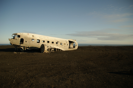Wreckage of crashed airplane in 1973 Douglas R4D Dakota DC-3 C 117 of the US Navy in Iceland at Solheimsandur beach.