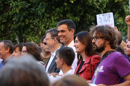 Valencia, Spain - June 18, 2016: Pedro S?nchez and Ximo Puig (PSOE) with M?nica Oltra (Comprom?s) with a banner on Gay Pride Day in Valencia