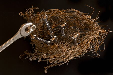 Figure of a birds nest made with steel wires and wrenches.  The largest of them simulates being the mother feeding a nut to the others. Concept - Illustration.