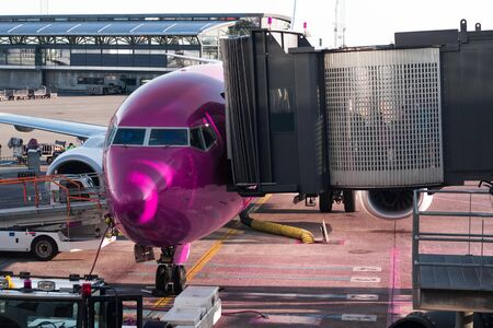 An airplane with the pink cabin being boarded by passenger access bridge. Aviation concept