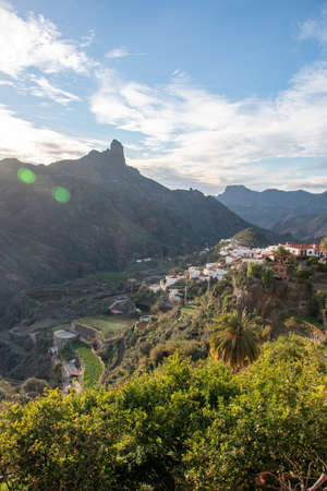 View of the town of Tejeda and Roque Bentayga in the interior of the Gran Canaria Island, Canary Islands, Spain. Nature concept