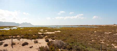 Panoramic landscape of Las Salinas in Cabo de Gata, Almeria, Andalusia, Spain. Nature concept Standard-Bild