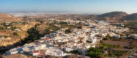 Aerial panoramic view of the town of Nijar in Almeria, Spain. Very touristy town near Cabo de Gata