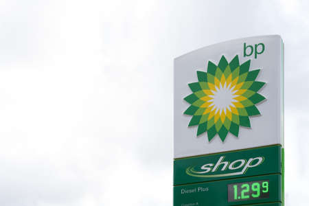 Valencia, Spain - July 24, 2021: BP Gas Station and shop sign. British Petroleum is an oil and gas company based in the UK and is one of the world's leading oil and gas companies
