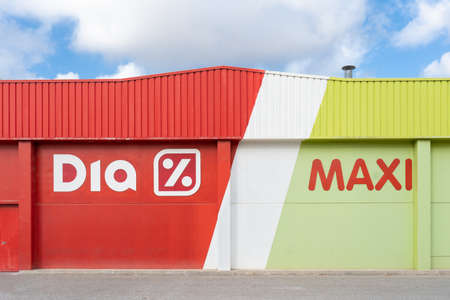 Valencia, Spain - July 24, 2021: Facade of Maxi Dia that is a Spanish supermarket chain listed on the stock exchange Editorial