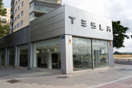Valencia, Spain - July 24, 2021: Tesla, a company specialized in electric vehicles, is gradually expanding its dealer network in Spain