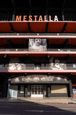 Valencia, Spain -August 1, 2021: Main entrance of the Valencia CF football stadium, with posters of the club's legendary players
