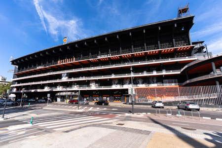 Valencia, Spain -August 1, 2021: Main facade of the Valencia CF soccer stadium, of the Spanish soccer league