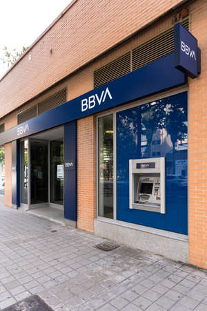 Valencia, Spain - August 1, 2021: Bank branch of BBVA, one of the largest banks in Spain Editorial
