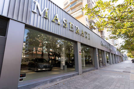 Valencia, Spain - August 1, 2021: Maserati Dealer, the luxury vehicle brand installed in the city of Valencia