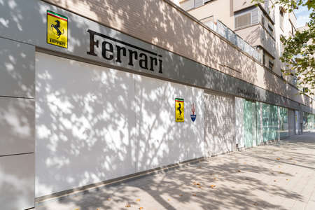 Valencia, Spain - August 1, 2021: Dealership and workshops of the luxurious Ferrari car brand in Valencia