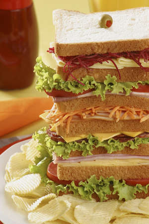 Super tall Ham, Cheese, Salami and Smoked Turkey Sandwich
