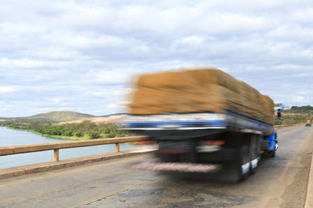 moving images: Truck passing over bridge over Sao Francisco river, Brazil.